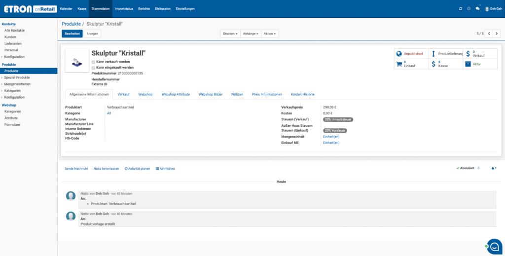 ETRON onRetail E-Commerce erweiterte Artikelstammdaten für E-Commerce